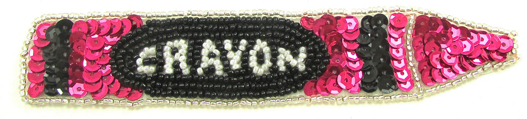 "Crayon Fuchsia Black White Sequins and Beads 1"" x 5.5"""