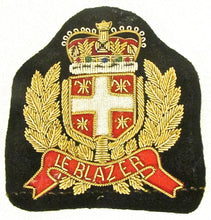 "Load image into Gallery viewer, Bullion Patch with Word ""Le Blazer"" Black Under Crown 3"" x 3.25"""