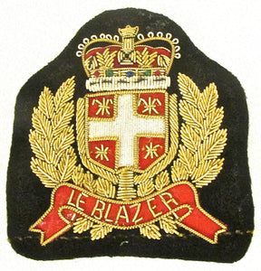 "Bullion Patch with Word ""Le Blazer"" Black Under Crown 3"" x 3.25"""