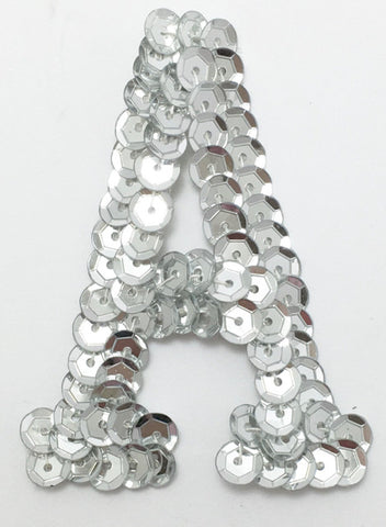 Letter A  Silver with No Beaded Edges 2""