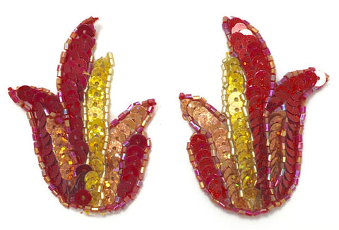 "Flame Pair with Laser Spotlight Red and Gold Sequins and Beads 2.5"" x 2"""