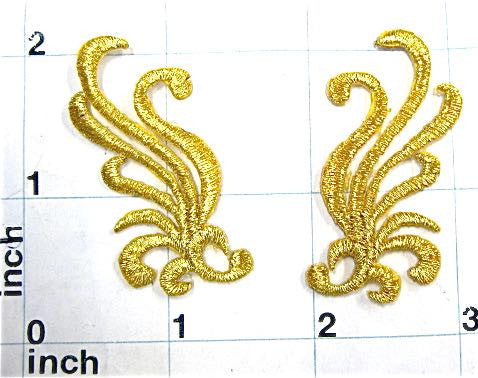 "Designer Motif pair, Metallic Gold Embroidered Iron-on  2"" x 1"""