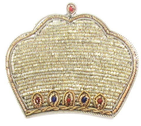 "Bullion Thread Crown with Blue and Red Beads  3"" x 2.5"""