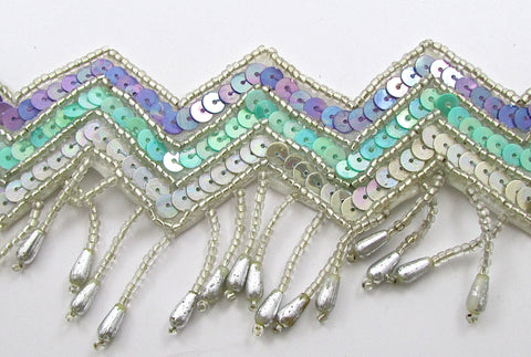 "Fringe Trim Southwestern Motif with Mint, Lavender, Sequins and Silver Beads 2.5"", Sold by the Yard"