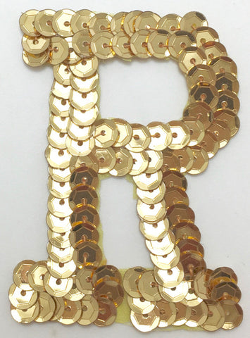 Letter R Gold with No Beaded Edges 2""