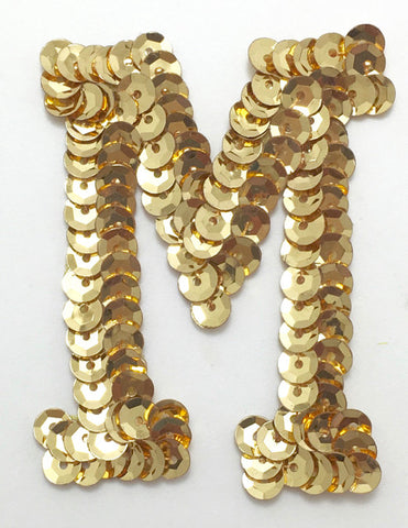Letter M Gold with no Beaded Edges 2""