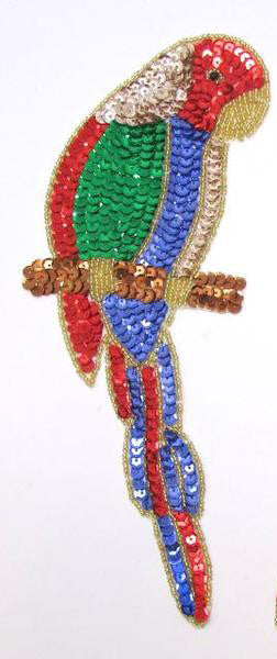 "Parrot with Mulit-Col0r Sequins and Gold Beads  10"" x 4"""