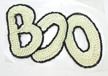 "Load image into Gallery viewer, BOO! Halloween Word White and Black Sequins/Beads 3.5"" x 5.25"""
