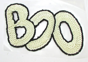 "BOO! Halloween Word White and Black Sequins/Beads 3.5"" x 5.25"""