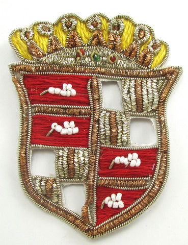 "Bullion Patch Crest Badge with Gold Red Thread and White Beads 3"" x 2.25"""