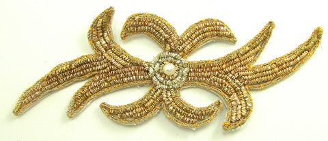 "Designer Motif Made with Bullion Thread and Center Pearl 2"" x 5.25"""