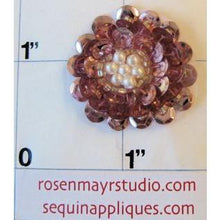 Load image into Gallery viewer, Flower with Pink Sequins and White Pearl Center 1""