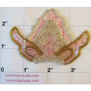 "Pink iridescent sequins with gold, pink and crystal beading. 3.5"" x 2.5"""