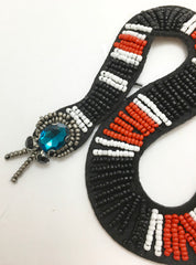 "Snake All Beaded with Red White Black Gold Beads and Rhinestone Head and Eyes 9"" x 4.5"""