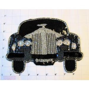 "Rolls Royce with Silver and Black Sequins and Beads 6.5"" x 8.5"""