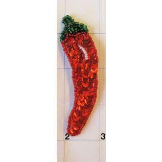 "Pepper Chili with Red and Green Sequins and Beads 3.5"" x 1"""