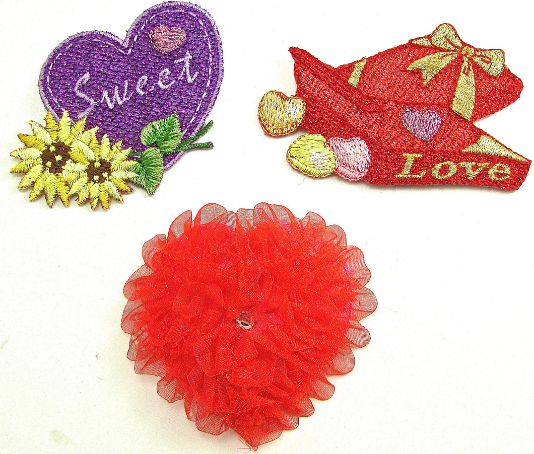 Valentines Day Three Embroidered Appliques Iron-On