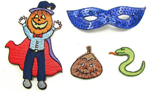 "Halloween Assortment Iron-On Embroidered Appliques 3"" and Smaller"