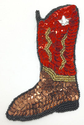 "Cowboy Boot with Red, Bronze, Black And Gold Sequins and Beads  7"" x 4"""