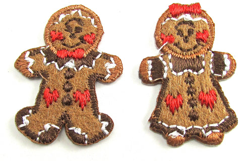 Gingerbread Man and Women Embroidery Patch Iron-On 1""