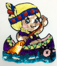 "Load image into Gallery viewer, Cartoon Native American Girl in Canoe, Sequin Beaded 6"" x 5"""