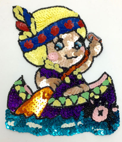 "Cartoon Native American Girl in Canoe, Sequin Beaded 6"" x 5"""
