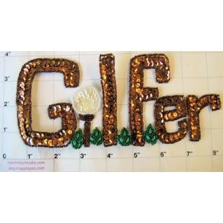 "GOLFER Word with Bronze Sequins and Beads 8"" x 3.5"""