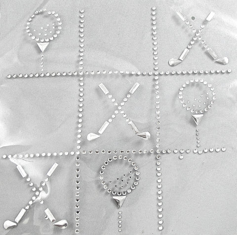 "Heat Transfer Game with Golf Tic-Tac-Toe Clear Crystals 7"" x 7"""