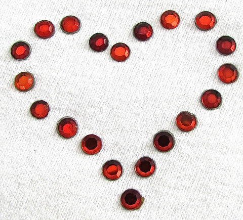 "Heat Transfer Red Heart with Crystals 1.5"" x 2"""