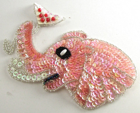 "Elephant Pink Sequins and Champange Glass 3.5"" X 5.5"""