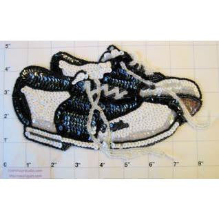"Shoes with Black and White Sequins and Beads 2.5"" x 5"""