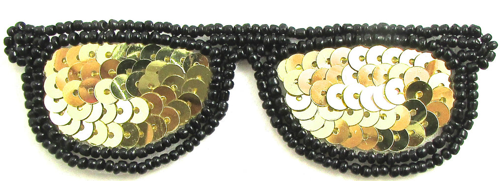 "Sun Glasses with Gold and Black Sequins and Beads 4"" x 1.25"""