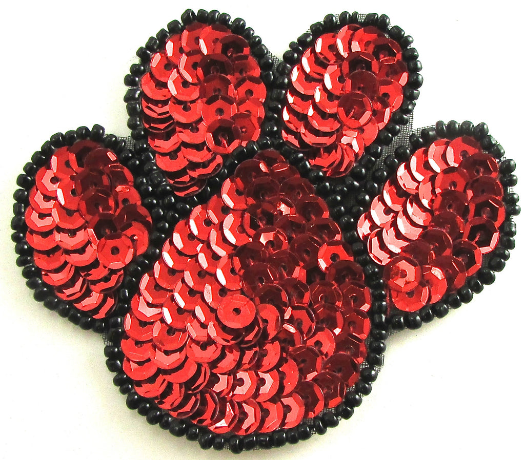 "Paw Print with Red Sequins and Black Trim 2.5"" x 3"""
