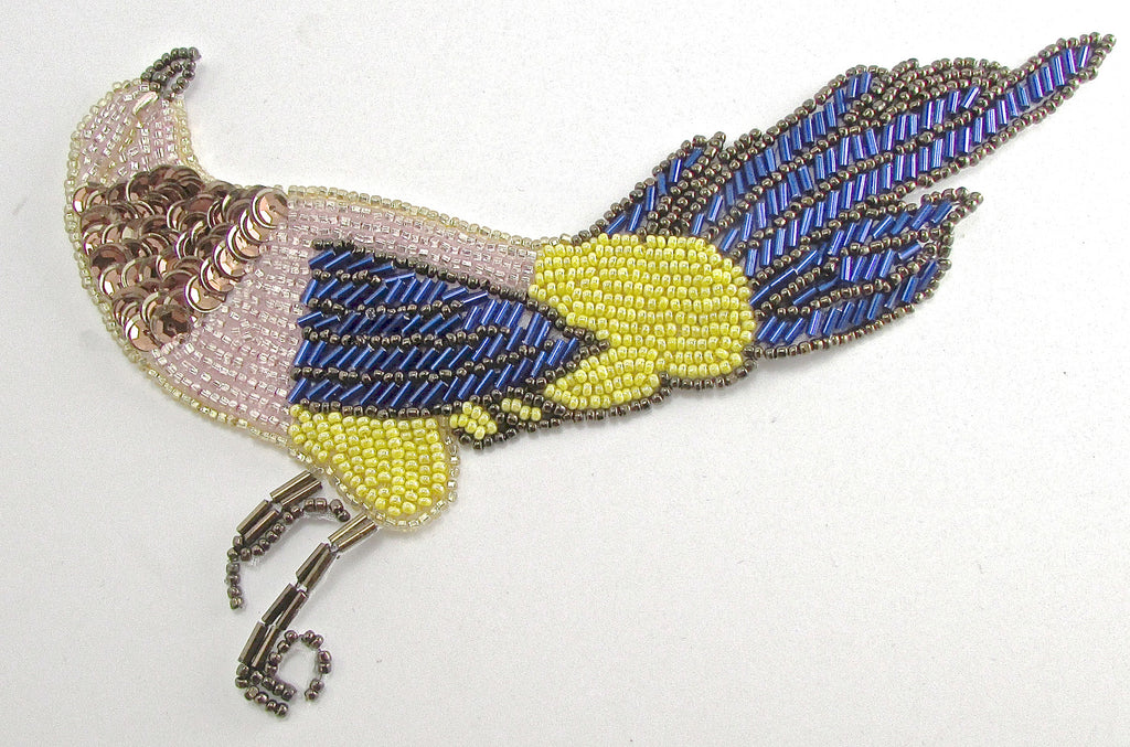 "Bird with Multi-Colored Sequins and Beads 7"" x 4.5"""