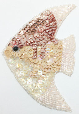 "Fish with Pink and Beige Iridescent Sequins and Beads 3.5"" x 2.25"""