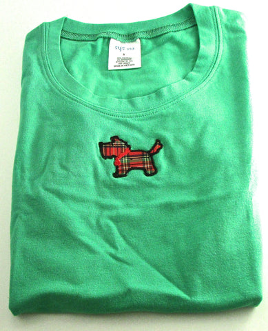 T-Shirt Girls Size Small 95% Cotton Green with Scottie Dog