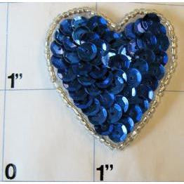 Heart with Royal Blue Sequins and Silver Beads 1""