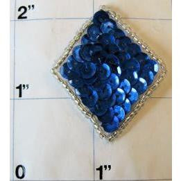 Diamond with Royal Blue Sequins Silver beads 1.75""