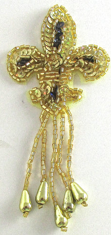 "Fleur de lis Epaulet with Lazer Gold and Black Sequins and Beads 4"" x 2"""