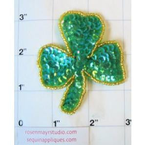 "THREE LEAF CLOVER Green Sequins with Gold Beads 3"" x 2.5"""