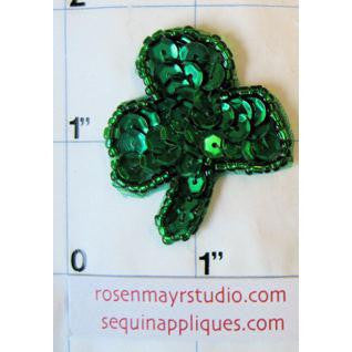 "Three Leaf Clover with Green Sequins and Beads 1.5"" x 1.25"""