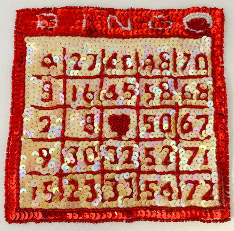 "Bingo Card with  Red, Beige and White Sequins and Beads 6"" x 6"""