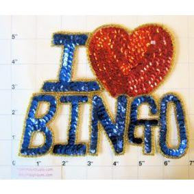 "I Love Bingo, Blue Sequins & Gold Beaded 5"" x 7"""