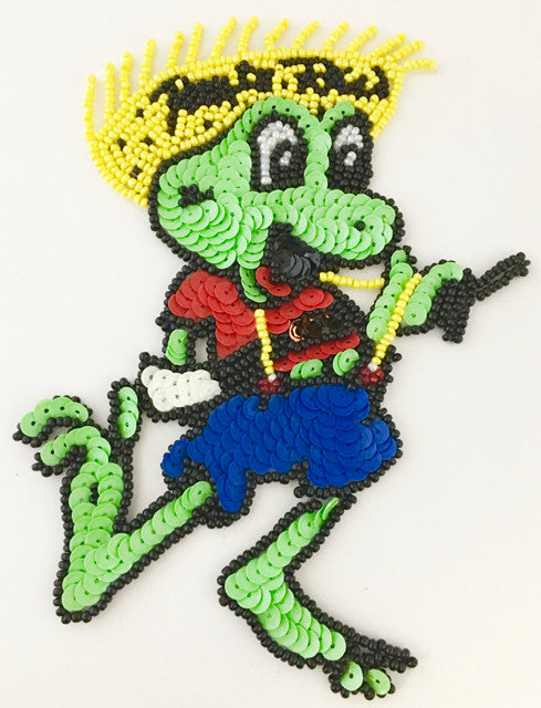 "Frog Cartoon with Multi-Colr Sequins and Beads  6"" x 3"""