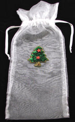 "Christmas Sache Gift Bags for Bottles etc. with Various Sequin Appliques  13"" x 5.5"""