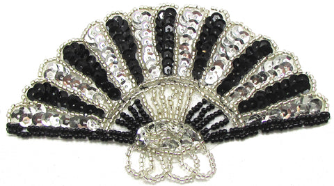 "Fan black and silver beaded  2.5"" x 5"""