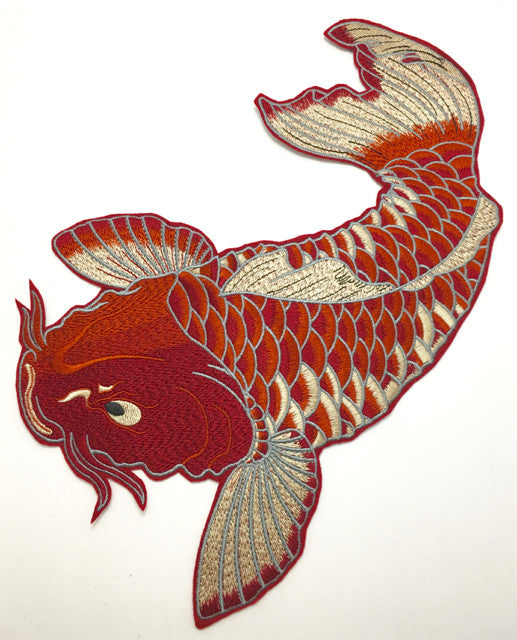 "Fish Carp Heavy Embroidered Sew-on or Glue 8"" x 12.5"""