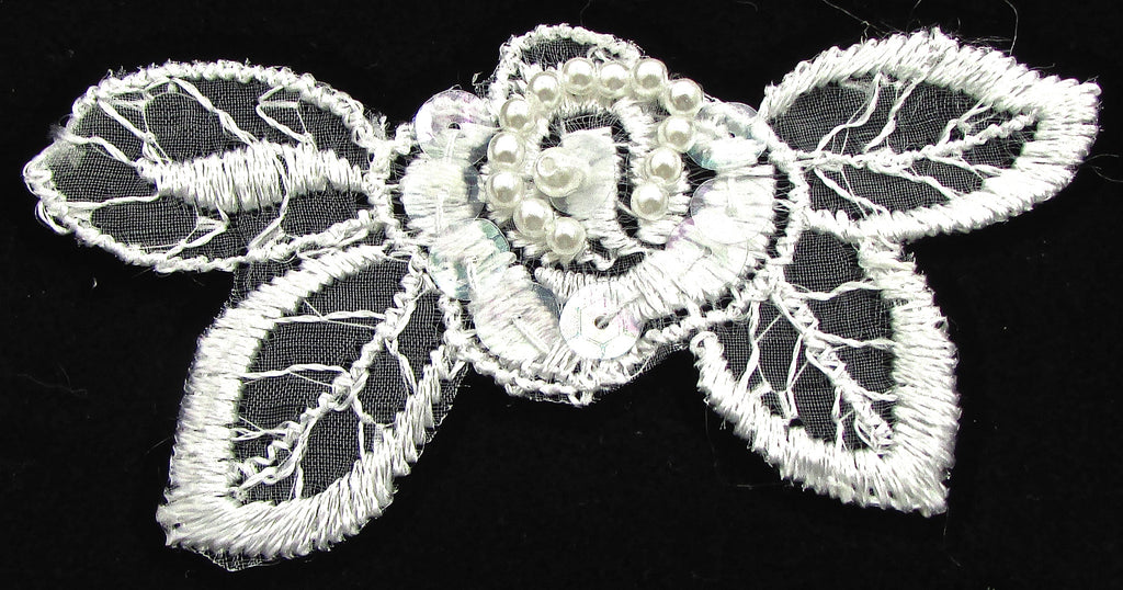 "Flower with white embroidery 1.5"" x 3.5"""