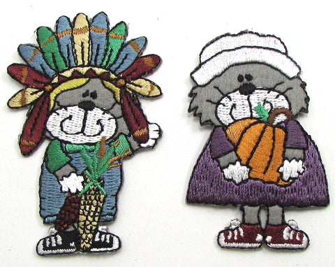 "Thanksgiving Kittens with Pumpkin and corn iron-0n 3"" x 2"" each"