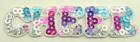 "Cheer word spelled out with multi-colored sequins and Iron-on 7/8"" x 3"""